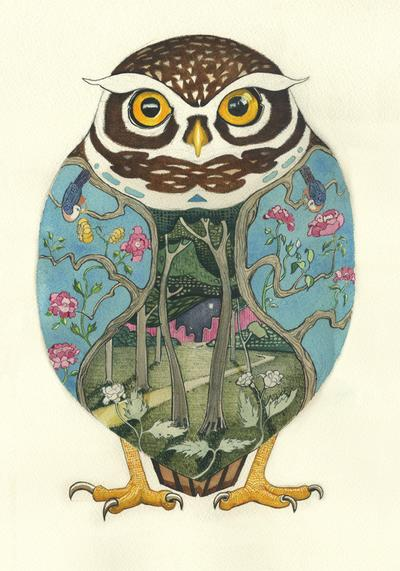 Little Owl greeting card by DM Collection