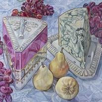 Oil painting by Margaret Foreman - Stilton and Gold Pears - Nice Things Ramsgate