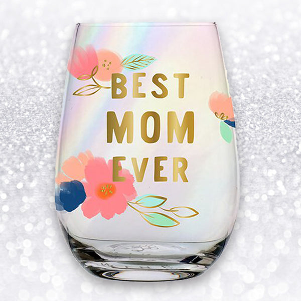 BEST MOM EVER FLORAL WINE GLASS