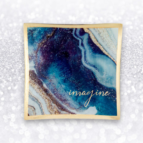 IMAGINE GLASS MARBLE TRINKET TRAY - by Karma