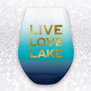 LIVE, LOVE, LAKE JUMBO WINE GLASS