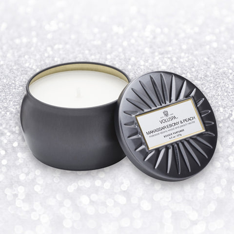 MAKASSAR, EBONY AND PEACH PETITE TIN CANDLE - by Voluspa
