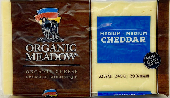Cheese - Organic Meadow Medium Cheddar Brick  - 340 gram