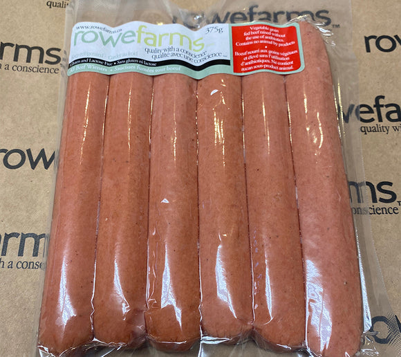 Hot Dogs - Rowe Farms All Beef Gluten-Free Wieners 6 pack (375 grams)