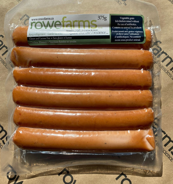 Hot Dogs - Rowe Farms Chicken Gluten Free Wieners 6 pack (375 grams)