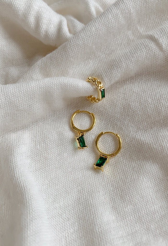 18k Gold Plated Green Zirconia Charm Huggie Hoop Earrings