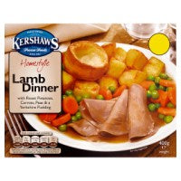 Kershaws Homestyle Lamb Dinner with Roast Potatoes, Carrots, Peas & a Yorkshire Pudding 400g