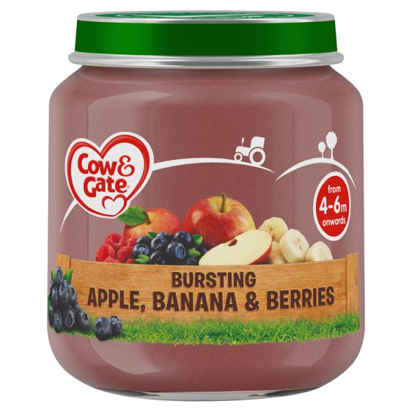 Cow & Gate Bursting Apple Banana & Berries Fruit Puree Jar 125g