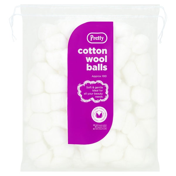 Pretty 100 Cotton Wool Balls 50g