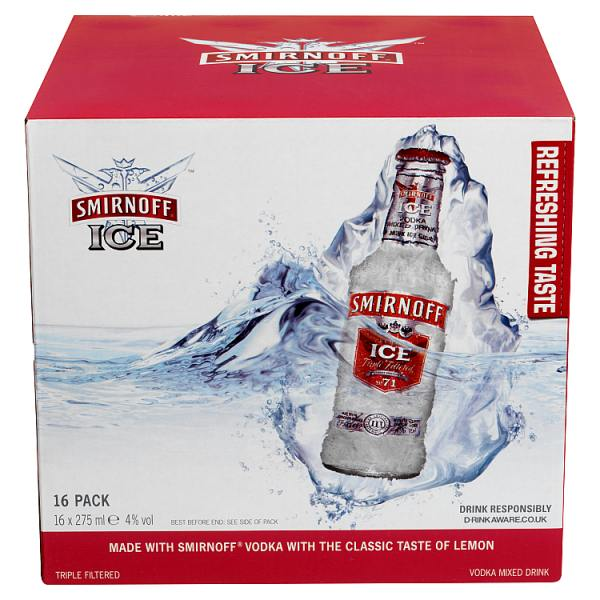 Smirnoff Ice Vodka Mixed Drink 16 x 275ml Bottle Multipack