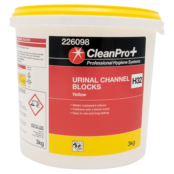 Clean Pro+ Yellow Urinal Channel Blocks H32 3kg