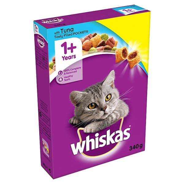 WHISKAS 1+ Cat Complete Dry with Tuna 340g (MPP £1.19)