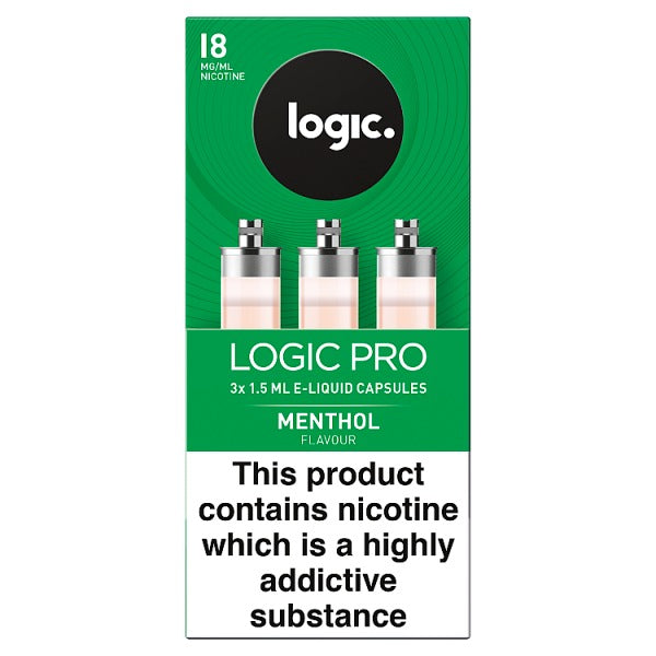 Logic Pro E-Liquid Capsules Menthol Flavour 18mg 3 x 1.5ml