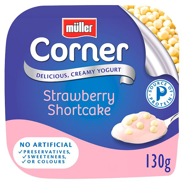 Müller Corner Strawberry Yogurt with White Chocolate Shortcake Balls 130g