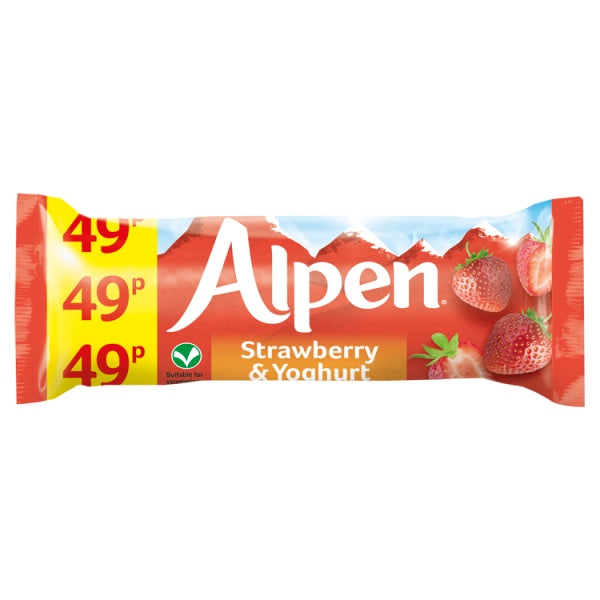 Alpen Cereal Bars Strawberry and Yoghurt 24 x 29g PM 49p