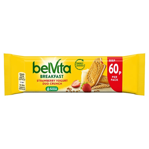 Belvita Breakfast Biscuits Duo Crunch Strawberry and Live Yogurt 60p 50.6g