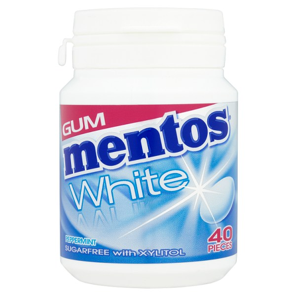 Mentos Gum White Sugar Free Peppermint Bottle 40pcs