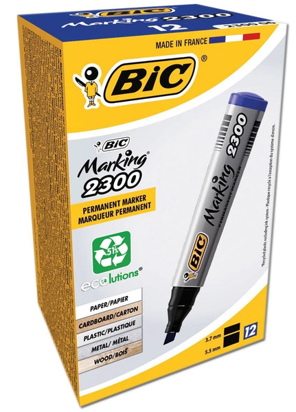 BIC PERMANENT CHISEL TIP 2300 MARKERS BOXED BLUE 8209253