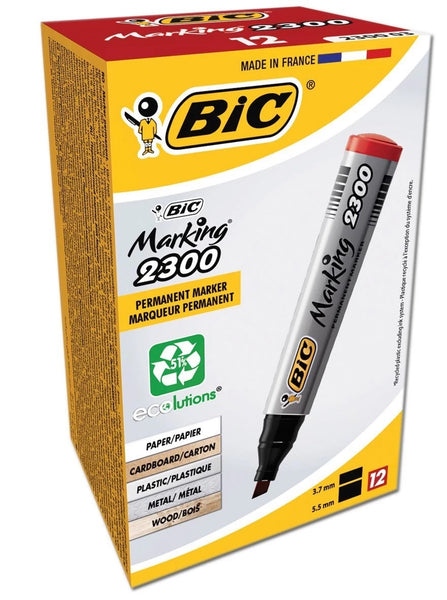 BIC PERMANENT CHISEL TIP 2300 MARKERS BOXED RED 8209243