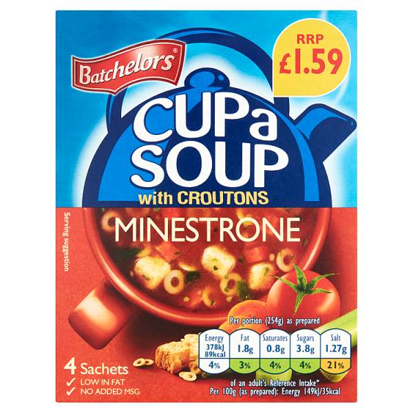 Batchelors Cup a Soup Minestrone with Croutons 4 Sachets 94g