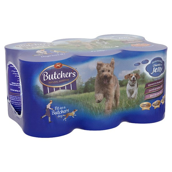 butcher's Meaty Chunks in Jelly Dog Food Tins 6 x 400g