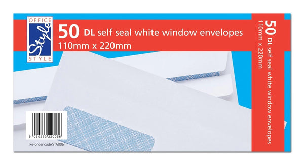 50 WHITE DL WINDOW ENVELOPES SELF SEAL 110MM X 220MM 80GSM STA006