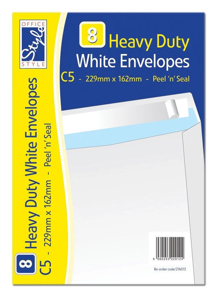 OFFICE STYLE 8 PEEL N SEAL C5 WHITE ENVELOPES 229MM X 162MM 110GSM STA013