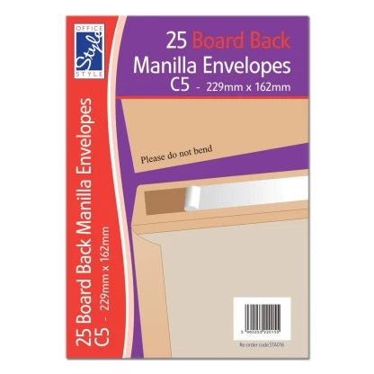 OFFICE STYLE single BOARD BACK C5 MANILLA ENVELOPES 229MM X 162MM STA016