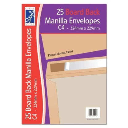 OFFICE STYLE single BOARD BACK C4 MANILLA ENVELOPES 324MM X 229MM STA015