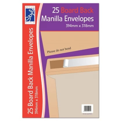 OFFICE STYLE Single BOARD BACK MANILLA ENVELOPES 394MM X 318MM STA014