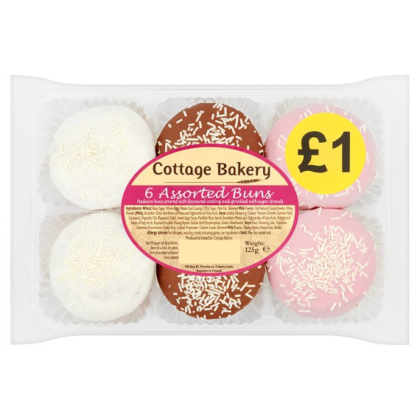 Cottage Bakery 6 Assorted Buns 125g