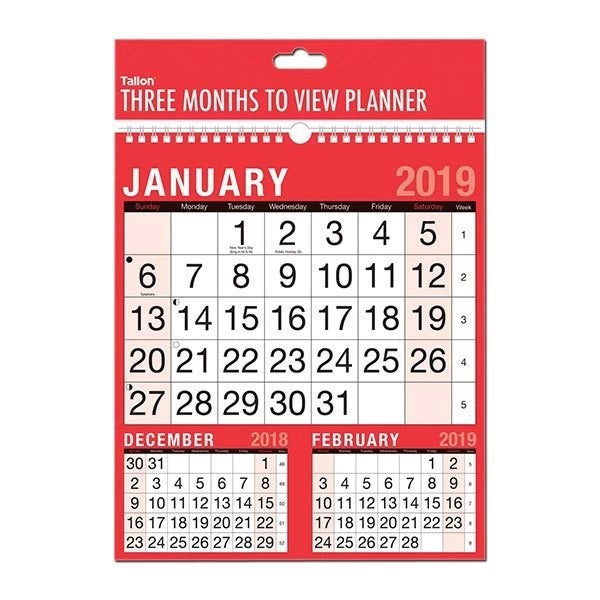 THREE MONTHS TO VIEW PLANNER CALENDAR