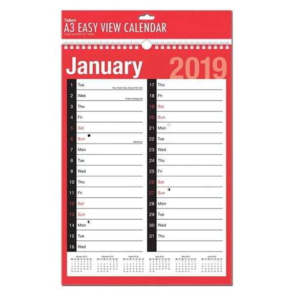 A3 EASY VIEW CALENDAR TWO COLUMNS