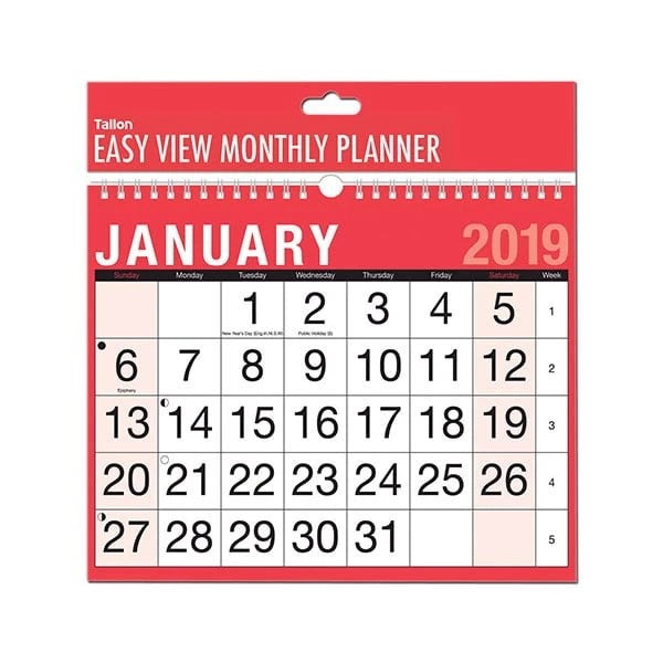 EASY VIEW MONTHLY PLANNER CALENDAR