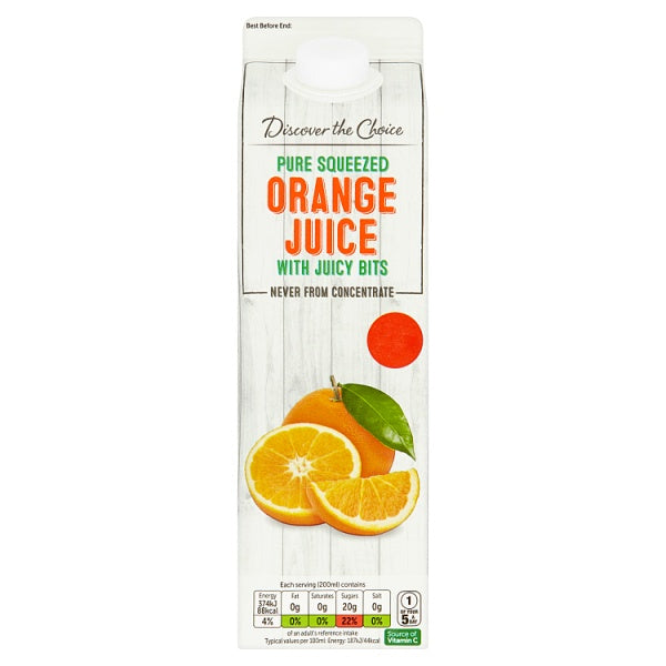 Discover the Choice Pure Squeezed Orange Juice with Juicy Bits 1 Litre