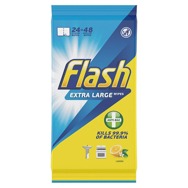 Flash Wipes Made of 100% Recycled Fibers Anti-Bacterial 24 Count