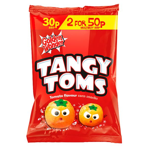 Golden Wonder Tangy Toms Tomato Flavour Corn Snacks 25g