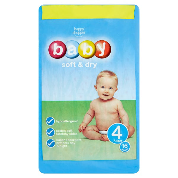 Happy Shopper Baby Soft & Dry 4 7-18kg 16 Nappies