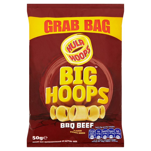 Hula Hoops Big Hoops BBQ Beef Flavour Potato Rings 50g