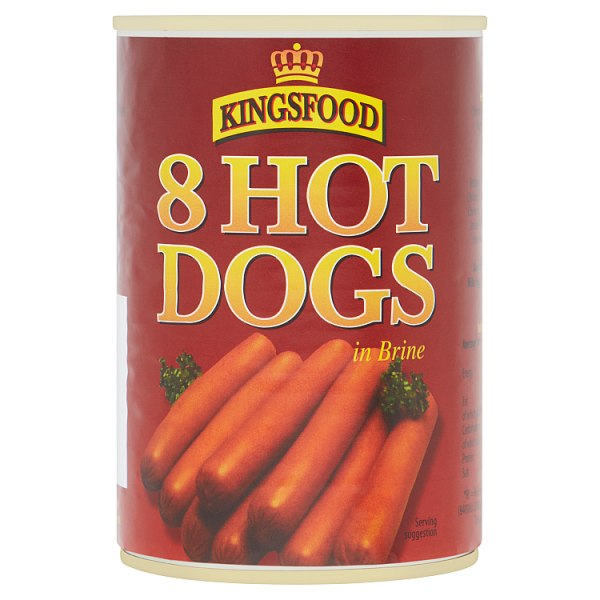 Kingsfood 8 Hot Dogs in Brine 400g (Drained Weight 184g)