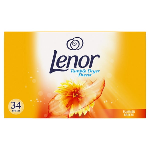 Lenor Fabric Tumble Dryer Sheets Summer Breeze 34 Sheets