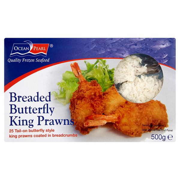 Ocean Pearl Breaded Butterfly King Prawns 500g (25 Pieces)