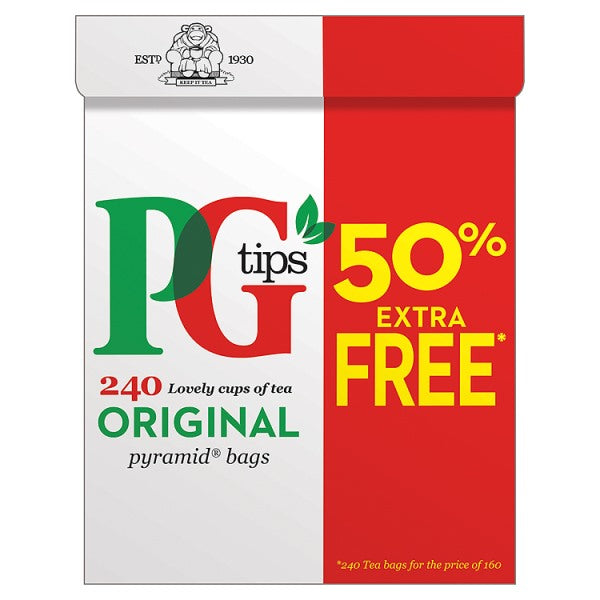 PG tips 160s + 50% Free Pyramid Teabags 696g