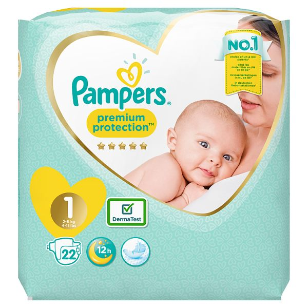 Pampers Premium Protection Size 1, 22 Nappies, 2-5kg, Carry Pack
