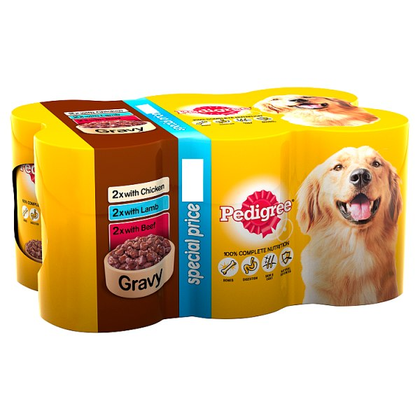 Pedigree Wet Dog Food Tins Mixed Variety Selection in Gravy 6 x 400g
