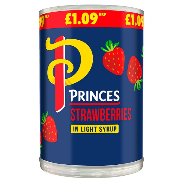 Princes Strawberries in Light Syrup 410g (Drained Weight 129g)