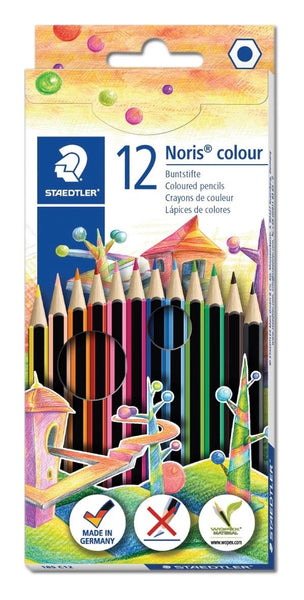 STAEDTLER 12 NORIS COLOUR COLOURING PENCILS HANG PACK 185 C12