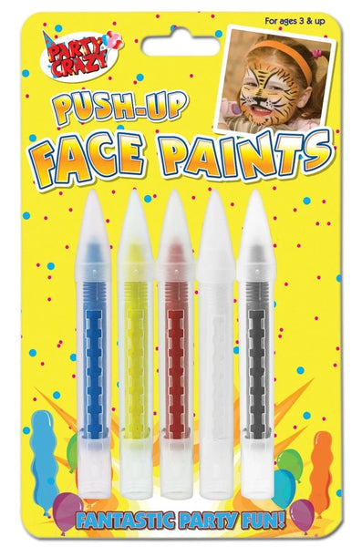 TALLON 5 FACE PAINT CRAYONS ASSORTED COLOURS HANG PACK 5116