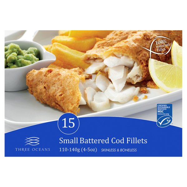 Three Oceans 15 Small Battered Cod Fillets 1.65kg