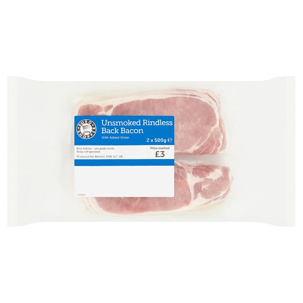 Euro Shopper Unsmoked Rindless Back Bacon 2 x 500g PM £3